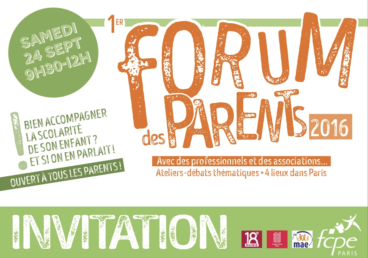 invitation forum parents FCPE 2016