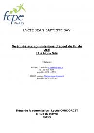 R15 Appels Délégués FCPE pour JBS - Fin de 2nde